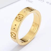 GG Ring Double Star Hollow Men's and Women's Letter Valentine's Day Gift Gold