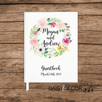 Guest Book, Wedding journal, personalized wedding guestbook, Floral journal, modern sign in book, simple personalized keepsakes, graduation