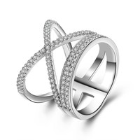 silver plated Cross Ring for women party gift new luxury Wedding band fashion silver plated jewelry Cubic Zircon Engagement Ring