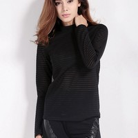 Women Sexy Stripe See-through O-neck Long Sleeve Tops