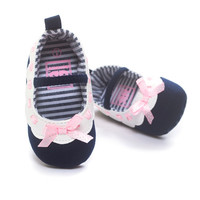 Baby Girls Bowknot Princess Crib Shoe Anti-Slip First Walkers 11 12 13 Soft Soled Shoes NW