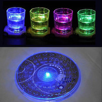 Fashion Color Changing LED Lights Bottle Cup Mat Coaster For Clubs Bars Party LS