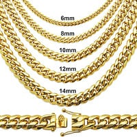 "14k Gold Finish Steel 12mm 22"" Thick Miami Cuban Chain"