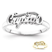 Personalized Sterling Silver or Solid Gold Casted Swirl Top Name Ring