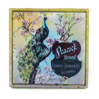 Handmade Coaster Peacock 2 Brand - Vintage Citrus Crate Label - Handmade Recycled Tile Coaster
