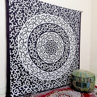 Black and White Indian Floral Mandala Hippie Bohemian Wall Hanging Tapestries, Hippy Boho Bedding Throw Bedspread, Ethnic Wall Decor