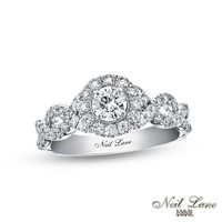 Neil Lane Bridal® Collection 1 CT. T.W. Diamond Frame Twist Shank Engagement Ring in 14K White Gold