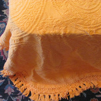 Vintage Orange Chenille Bedspread with circle design / Twin size