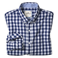 SLIM FIT WASHED GINGHAM CHECK SHIRT - Navy/White Gingham