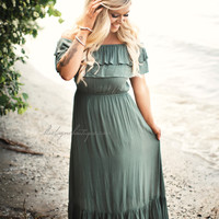 Boho Chic Off Shoulder Dress (olive)-FINAL SALE