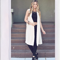 Collared Long Line Vest- Taupe