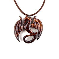 Dragon Necklace, Dragon Pendant, Dragon Jewelry, Wood Dragon Necklace, Carved Dragon Necklace, Dragon Statement Necklace, Fantasy Jewelry