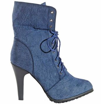 JOIE DISTRESSED UTILITY BOOTIE - NAVY