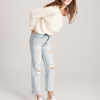 Womens High Rise Ankle Straight Jeans   Womens Bottoms   Abercrombie.com