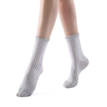Aliyah Scallop Sparkle Crew Sock | Silver