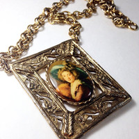 Huge Cameo Necklace with Square Filigree Pendant Goldtone