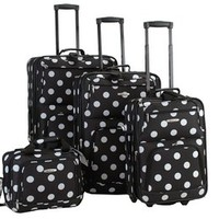 Rockland Luggage Dots 4 Piece Luggage Set, Black Dots, One Size