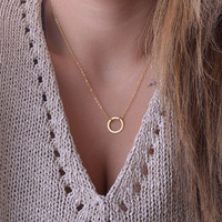 Infinity love necklace, minimalist circle pendant, chic and small round circle necklace, circle karma necklace, cycle of life - gold