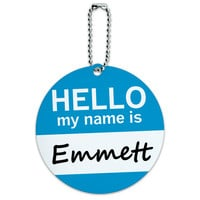 Emmett Hello My Name Is Round ID Card Luggage Tag