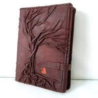 LuxusOlymp 's Exclusive Handmade Embossed Leather Journal - Refillable - 9 x 6.5 - Tree of Life - Brown - Unlined