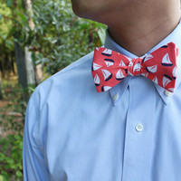 Navy White Sailboat on Coral - Men's Adjustable Self Tie Bow Tie