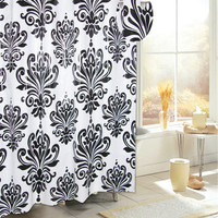 "Royal Bath Easy On (No Hooks Needed) PEVA Non-Toxic Shower Curtain Liner (70"" x 72"") with Built in Hooks - Beacon Hill Black/White"