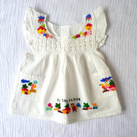 Vintage colorful embroidered white cotton by LazerBabyVintage