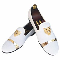 New Handmade Men Velvet Loafers Shoes White Slippers with Gold Buckle Wedding and Party Dress Shoes Red Bottom Flats Size 7-13