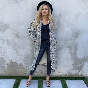 On The Prowl Leopard Denim Trench Coat