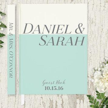 Wedding Guest Book, Hardcover, Mint Green and Ivory, Choice of Colors and Sizes