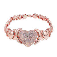 "XOXO Link Heart bracelet Womens Rose Gold Tone Pink Lab Diamond 7.5"" 24mm"
