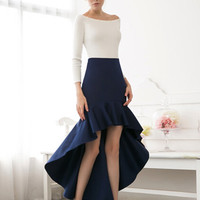 Navy Ruffled Skirt