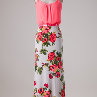 Stroll Through the Rose Garden Maxi Dress - Neon Coral