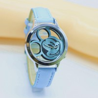 NEW Fashion Lovely women gilrs Hollow Out Minnie Mouse Style Dial Leather Quartz Wrist Watches for lady kids dress mouse watch