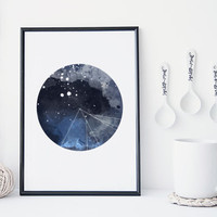Galaxy art print, watercolor nebula art print, round geometric design, modern home decor, moon wall art, gift, blue, minimal, scandinavian