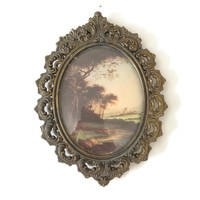 Vintage Ornate Gold Frame Made in Italy, Small Oval Metal Frame, Victorian Decor Wall Art, Framed Old Masters Landscape Renaissance Print