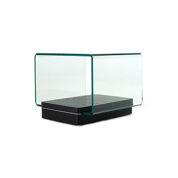 """End Tables - 19"""" Oak Veneer and Glass End Table"""