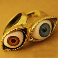 2020 women's geometric punk style personality exaggerated eye ring ring