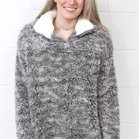 Cozy Up 2-Tone Sherpa Zipper Pullover {Grey}