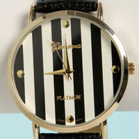 The Clock Stripes Twelve Black and White Watch