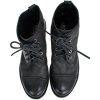 Strategia/Jfk Osaka Black Leather Lace-Up Boots