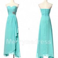 Beads Ruffled Sweetheart Strapless Long Empired Bridesmaid Celebrity Dress, Chiffon Formal Evening Party Prom Dress New Homecoming Dress