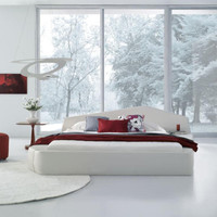 Modern White Leatherette Bed