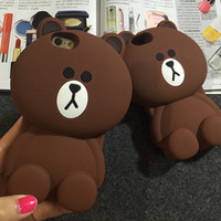 Luxury 3d cute cartoon bear soft silicone case back protective mobile phone cover skin for iPhone 5 5s SE 6 6s 7 plus 4.7 5.5