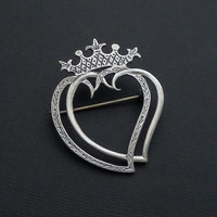 SCOTTISH Sterling Silver Witches HEART Crown Brooch Double Hearts Signed DB Hamish Dawson Bowman, Vintage Celtic Love Token Wedding Jewelry
