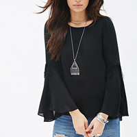 Fringed Bell Sleeve Top