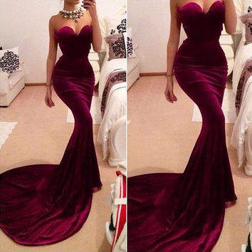 Claret Strapless Mermaid Dress