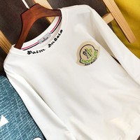Moncler New fashion bust side embroidery letter couple long sleeve sweater White