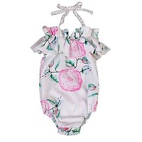 Baby Girls Clothing born Infant Baby Girl Floral Romper Lace Halter Jumpsuit Outfits Sun-suit Clothes