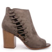 Gray Cammi Laced Peep Toe Bootie